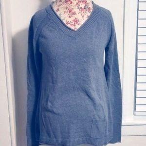 Eddie Bauer Gray VNeck Sweater with Pocket Medium